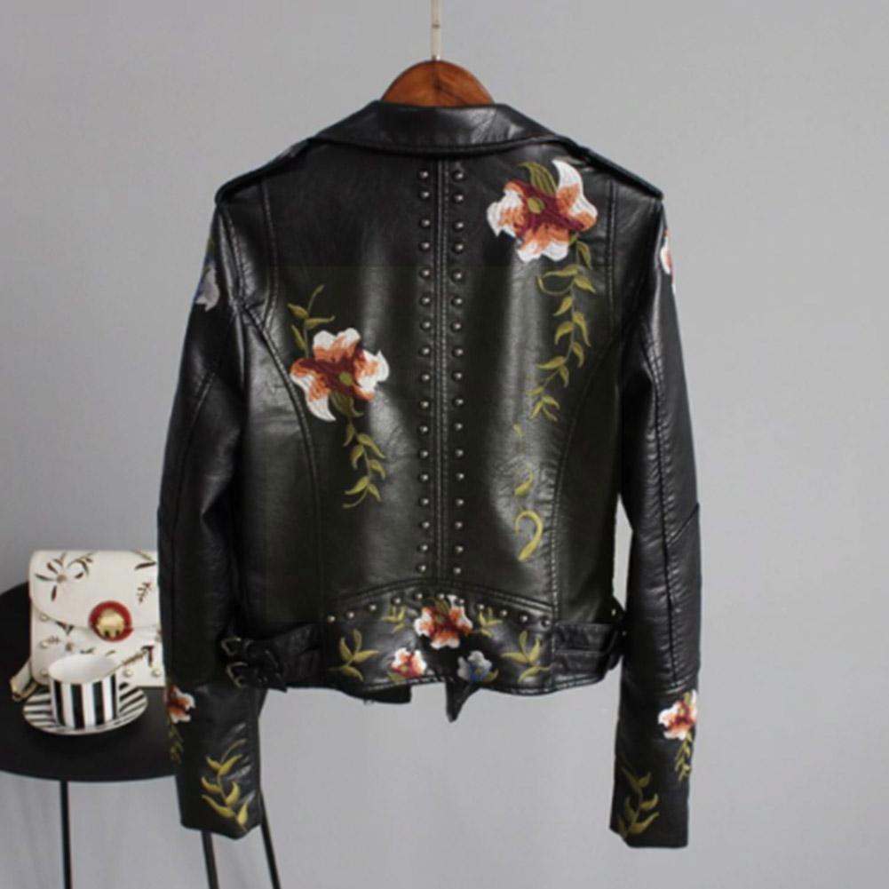 Демисезонная верхняя одежда из искусственной кожи с цветочным принтом и вышивкой, Женская Байкерская черная уличная мотоциклетная одежда ...