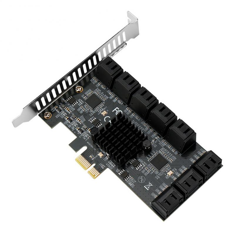 جديد بكيي SATA التوسع بطاقة بكيي 1X إلى 16-ميناء SATA3.0 6 جيجابايت SATA III متعددة ميناء قرص صلب محول الناهض بطاقة ل جهاز كمبيوتر شخصي