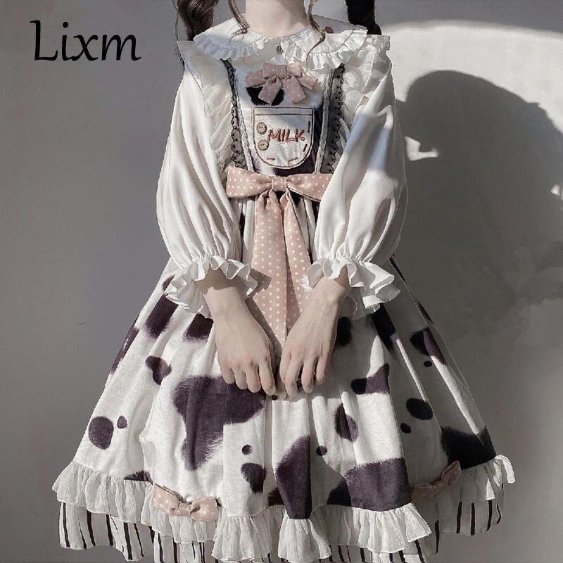 Kawaii البقرة طباعة فستان لوليتا لوليتا Jsk اليابانية فتاة لينة تكدرت حزام Kawaii لوليتا فستان الزي موري فتاة
