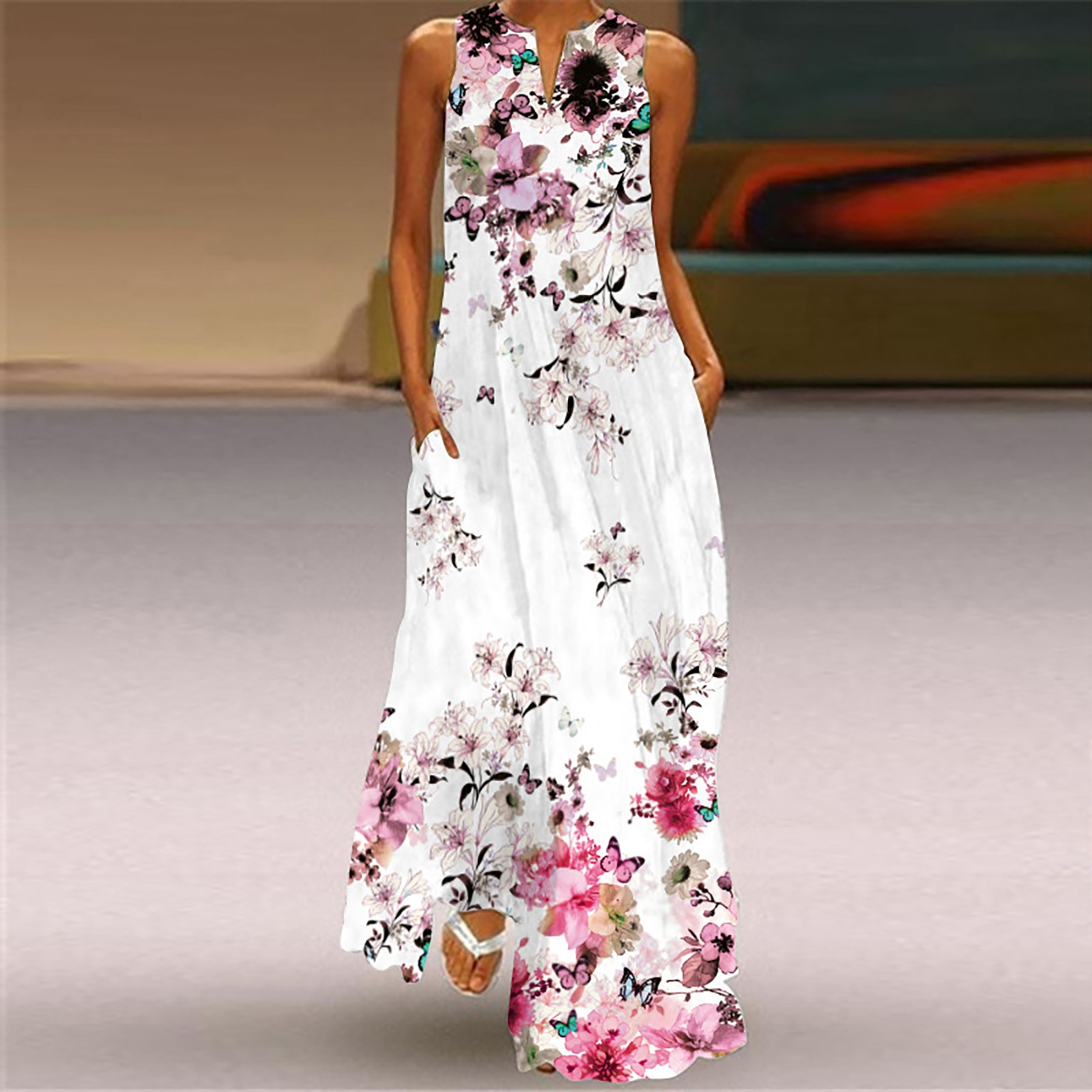 40# Sleeveless Maxi Dress Floral Printed Vintage Robe Femme Bohemia Ruffle Big Swing Long Woman Dress V-neck Split Long Dress