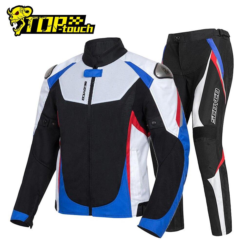 Chaqueta de Moto SCOYCO + Pantalones estilo motero transpirable de verano Chaqueta de Moto de Motocross Chaqueta reflectante Chaqueta de montar motocicleta