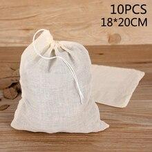 10 шт чайных пакетиков 18*20 см пустые ароматизированные чайные пакетики с ниткой зажимного уплотнения пищевой мешок сетчатого фильтра орех м...