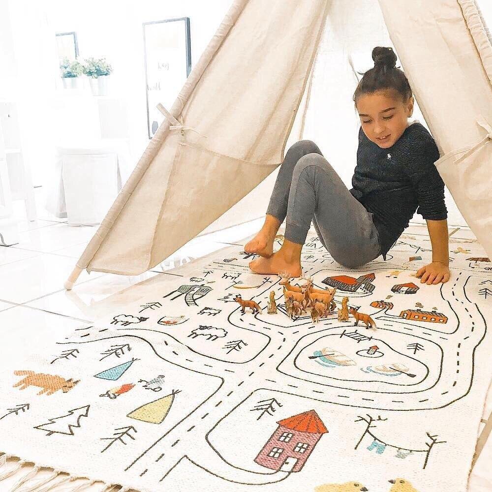 INS الشمال نمط متعدد الألوان شرابة الطريق حصيرة للزحف الأطفال الديكور غرفة المعيشة يمكن رسمت لوحة تسلق