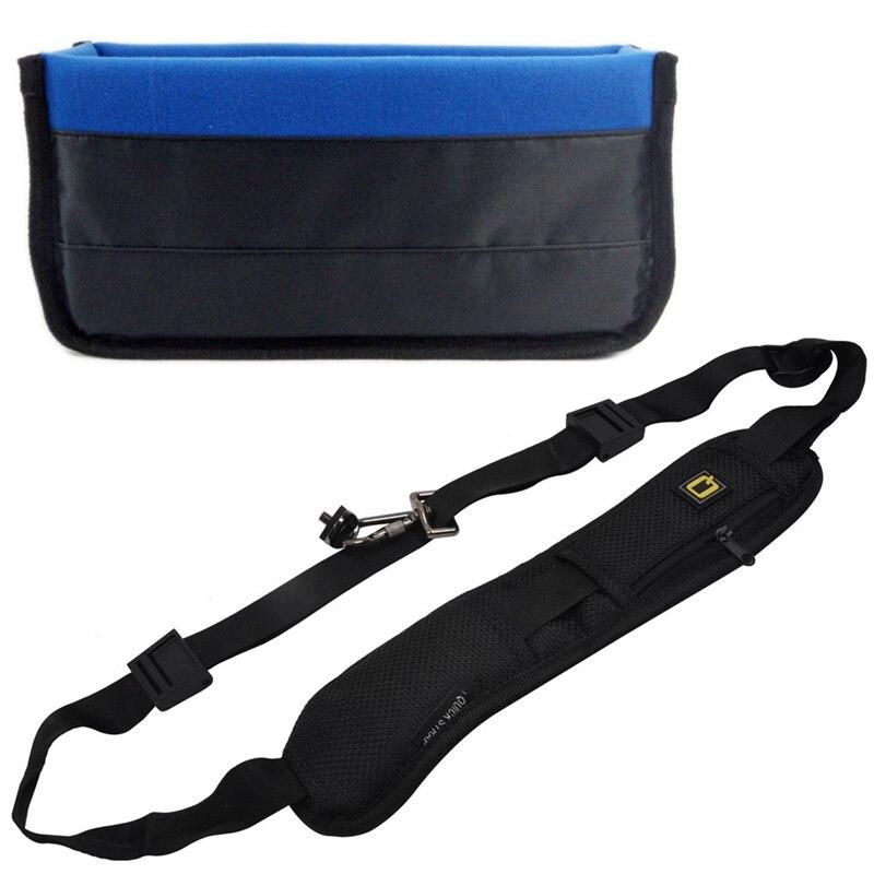 Hfes 2 pces acessórios da câmera 1 pces descompressão sling correia preta & 1 pces dslr slr câmera inserção organizador caso
