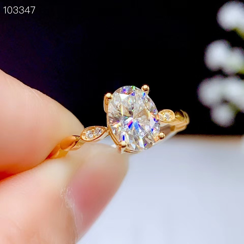 crackling moissanite ring for women jewelry engagement for wedding 925 silver birthday gift gold plated color
