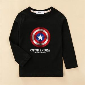 Shield Children T-shirt Long Sleeve Cotton Boy Tops Cartoon Print Design Tees Kids Casual Spring Clothes Boys Captain Shirts