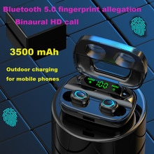 Bluetooth Wireless Sports Earphones Mini LED Light Screen HIFI Fingerprint Touch Headset  Stereo Waterproof Binaural Earbuds