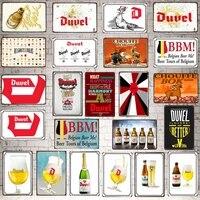 Biere belge En Metal s Plaque Metal Retro Bar Maison Art Retro Artisanat Decor de Cinema 30X20CM DU-6765A