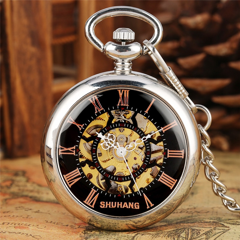 Silver Unisex Hand-winding Mechanical Pocket Watch Skeleton Smooth Case Roman Numbers Watches for Men Women Pendant Chain Gift