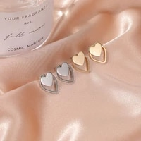new simple earrings for women double love gold earrings females ol style metal perforated ear studs jewerly gift