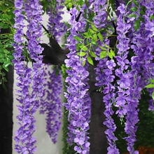 Wisteria Artificial Flower Vine Wreath Wedding Arch Decoration Fake Plant Leaf Rattan Trailing Fake Flower Ivy Wall