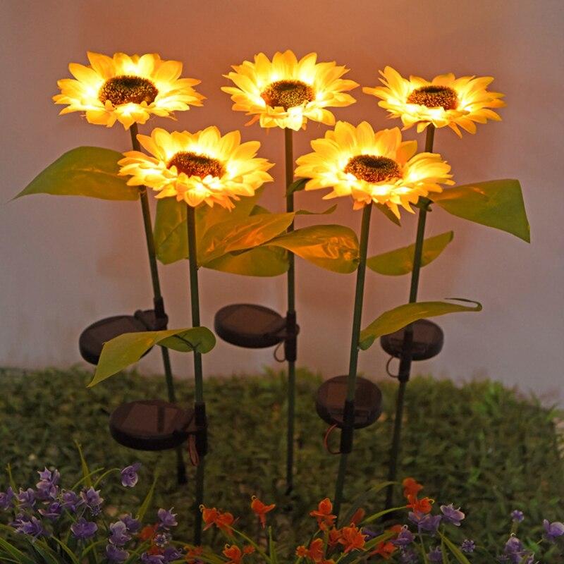 Sunflower Solar Light Outdoor Garden Landscape Decoration Lamp Waterproof Light Sensor Solar Powered Lamp Christmas Decorative