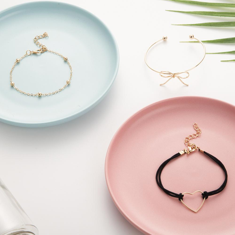 3pcs/set Boho Heart Cuff bracelets Set For Women bow-knot Charm Black Rope Bangle Female vintage Jewelry accessories