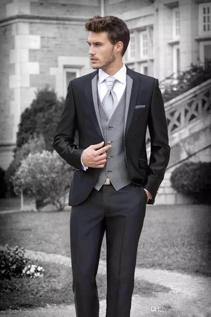 بدلة سوداء رجالية, بدلة زفاف سوداء 2021 للرجال بدلة رسمية لحفلات الزفاف (سترة + سروال + سترة) ثلاث قطع للزفاف