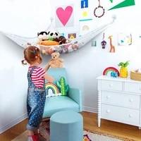 toys storage hammock children room large polyester plush animal organizer baby bedroom tidy nursery net with strong metal hook