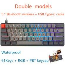 JVH 61Key PBT clavier de jeu mécanique Bluetooth 5.1 fil sans fil type-c Double modèles compacts silencieux gris MX gris foncé D30