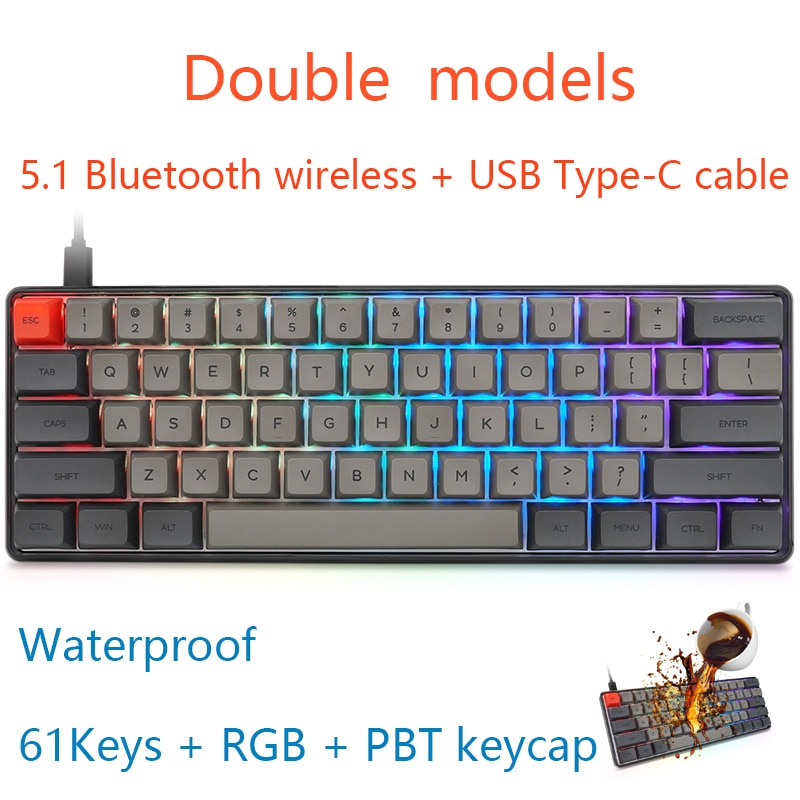 JVH 61Key PBT Teclado mecánico para jugar Bluetooth 5,1 inalámbrico tipo-C de alambre doble modelos compacto Gray MX gris oscuro D30