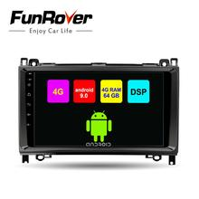 Funrover 2 din Octa Core Android9.0 차량용 DVD 플레이어, 메르세데스 벤츠/단거리 용/W169/B200/B 급 카 라디오 gps DSP 4G RAM 64G ROM