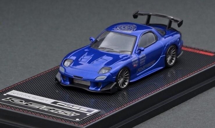 IG 1:64 مازدا RX-7 (FD3S) إعادة Amemiya أزرق لامع دييكاست نموذج سيارة
