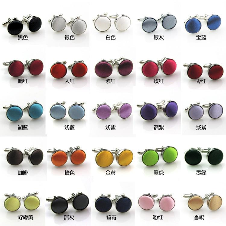 500 زوج/وحدة أزرار أكمام قماش مستديرة 25 ألوان اليدوية النسيج الملابس الكفة الروابط للرجال مجوهرات الأعمال/الزفاف هدية Mixorder