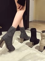 fashion womens ankle boots round toe pu leather high heels shoes black beige winter warm shoes k082