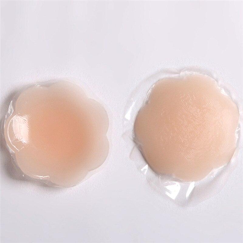 Cubierta de pezón de silicona sujetador reutilizable almohadilla Invisible adhesivo sujetador etiqueta adhesiva de pecho de silicona pecho pétalos de pecho mujeres 1 par