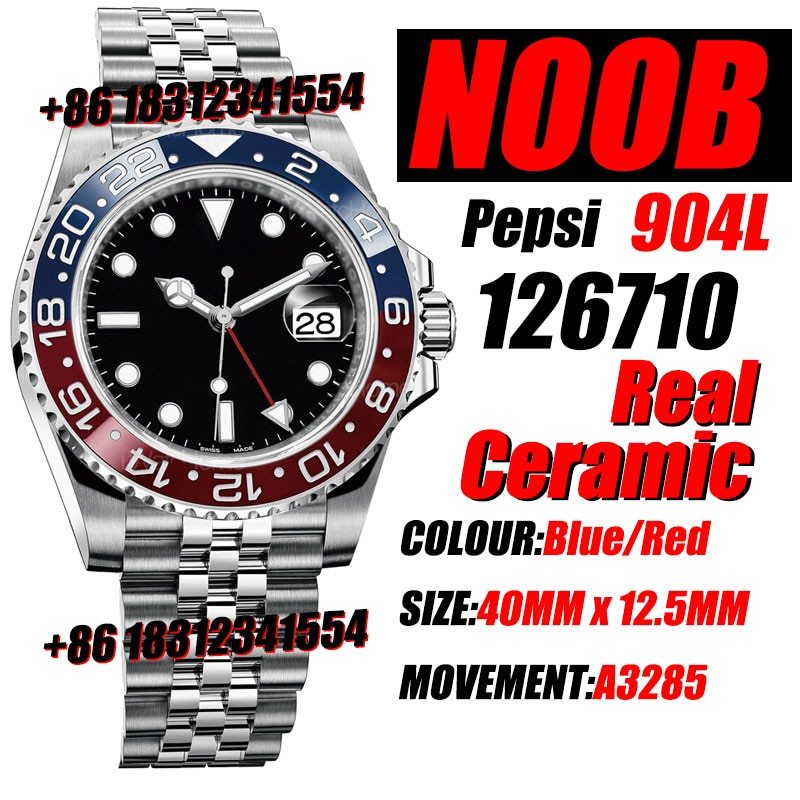 Men's Mechanical Watch GMT Master II 126710 BLRO Real Blue/Red Ceramic 904L Noob 1:1 Best On Jubilee Bracelet A3285 Wtaerpoof