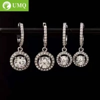 umq real 0 51 carat d color moissanite drop earrings for women 100 925 sterling silver sparkling wedding party fine jewelry