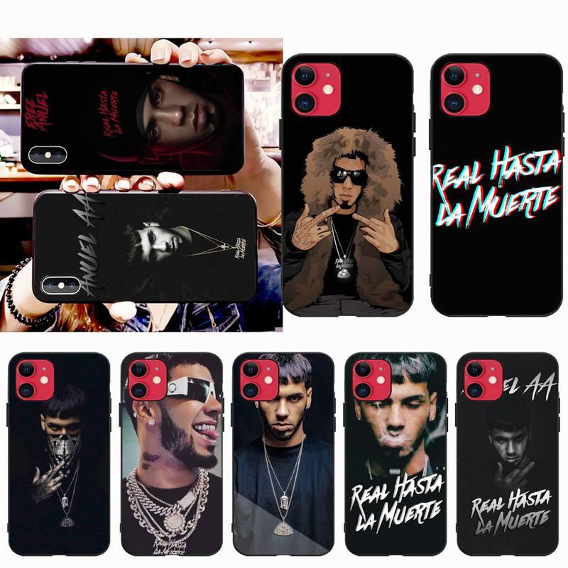 PENGHUWAN rapero Anuel AA Real Hasta La Muerte Negro teléfono caso Capa para iPhone 11 pro XS MAX 8 7 6 6S Plus X 5S SE XR caso