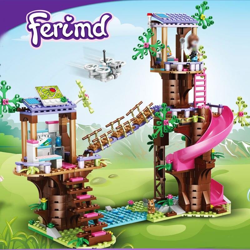 New Friends Jungle Rescue Building Blocks Base Slide Amusement Park Bricks Toys with Action Figures