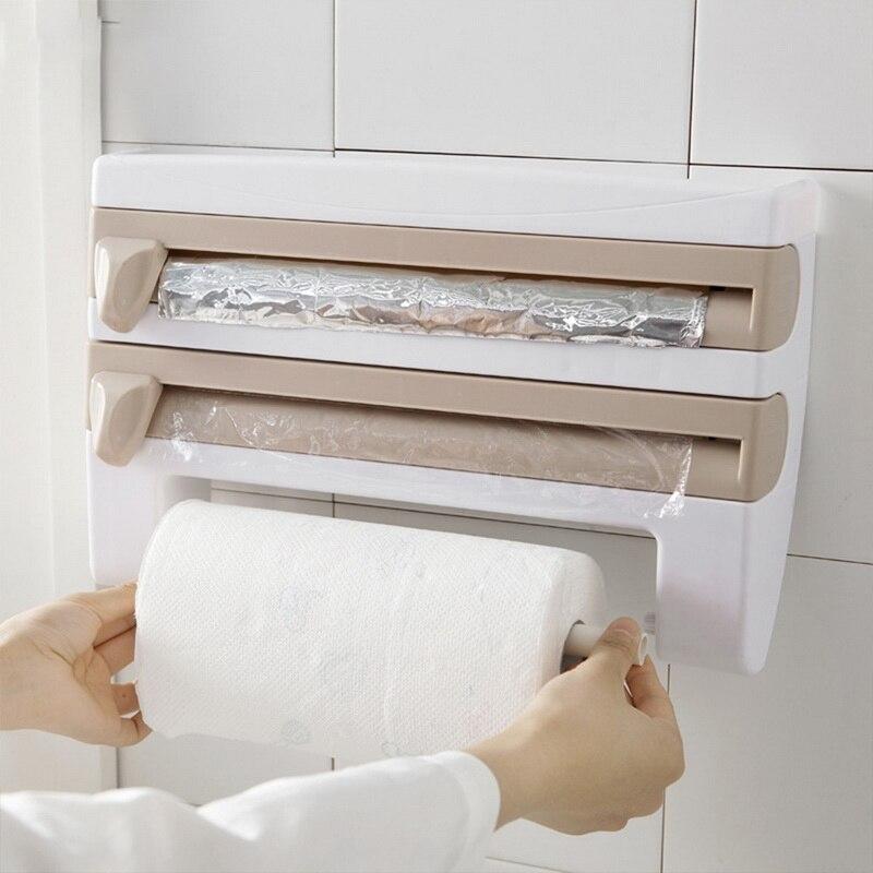 Cozinha aderente filme de armazenamento rack envoltório cortador geladeira parede pendurado suporte toalha de papel multifuncional organizador casa