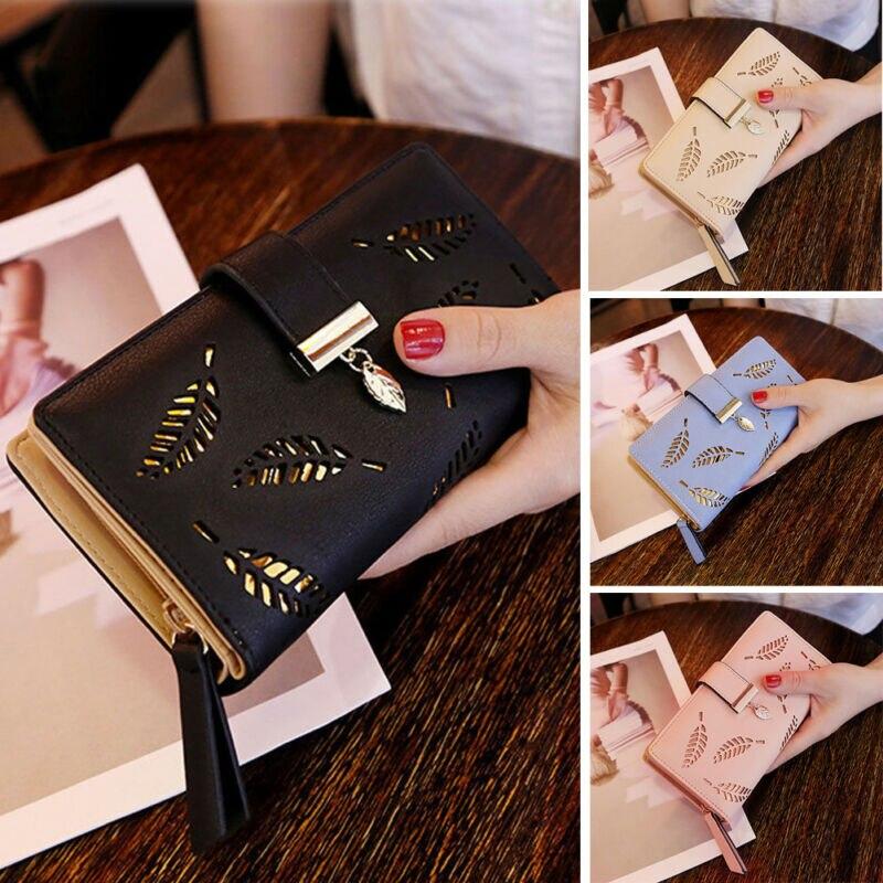 Storage Bags Leaves Hollow Women Wallet Soft PU Leather Women's Clutch Wallet Female Designer Wallets Coin Card Purse
