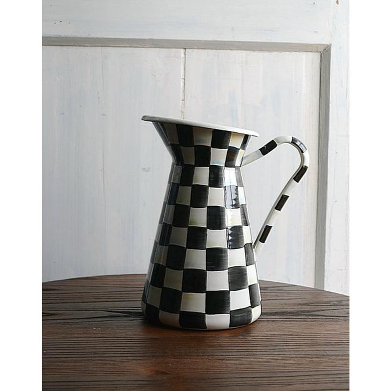 Enamel Flower Pots Teapot Planter Black White Classic Color Big Size