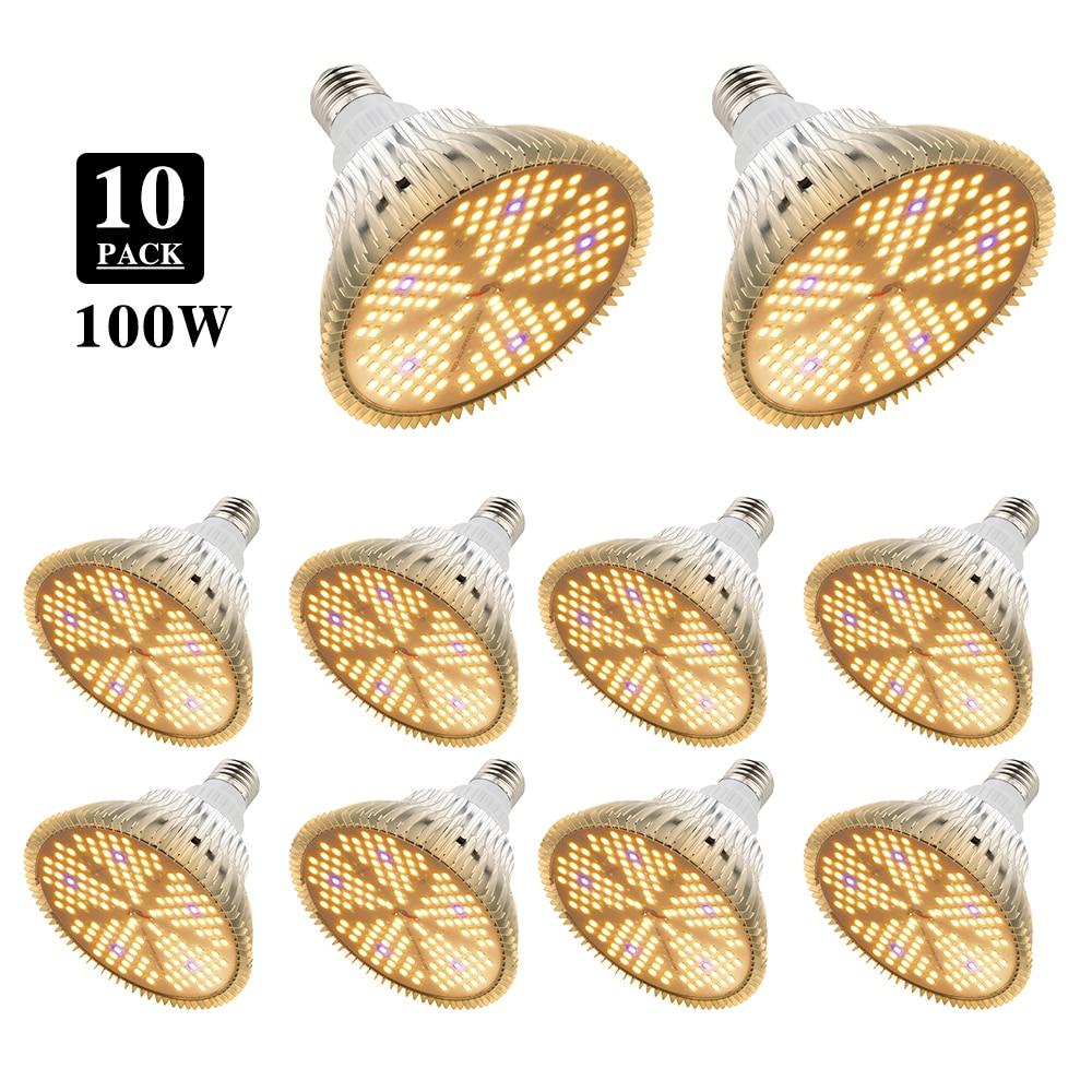 10Pcs E27 100W Full spectrum Led Grow Light 150LEDs Warm White Lamp For Indoor Plants Greenhouse Seeds Flower Growing Tent