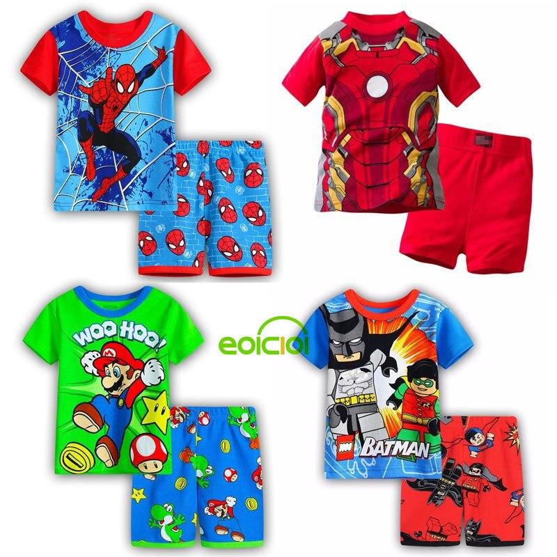 Nuevo conjunto de ropa de algodón de verano para niños y niñas, conjunto de ropa de manga corta Batman spiderman Iron Man, manga corta
