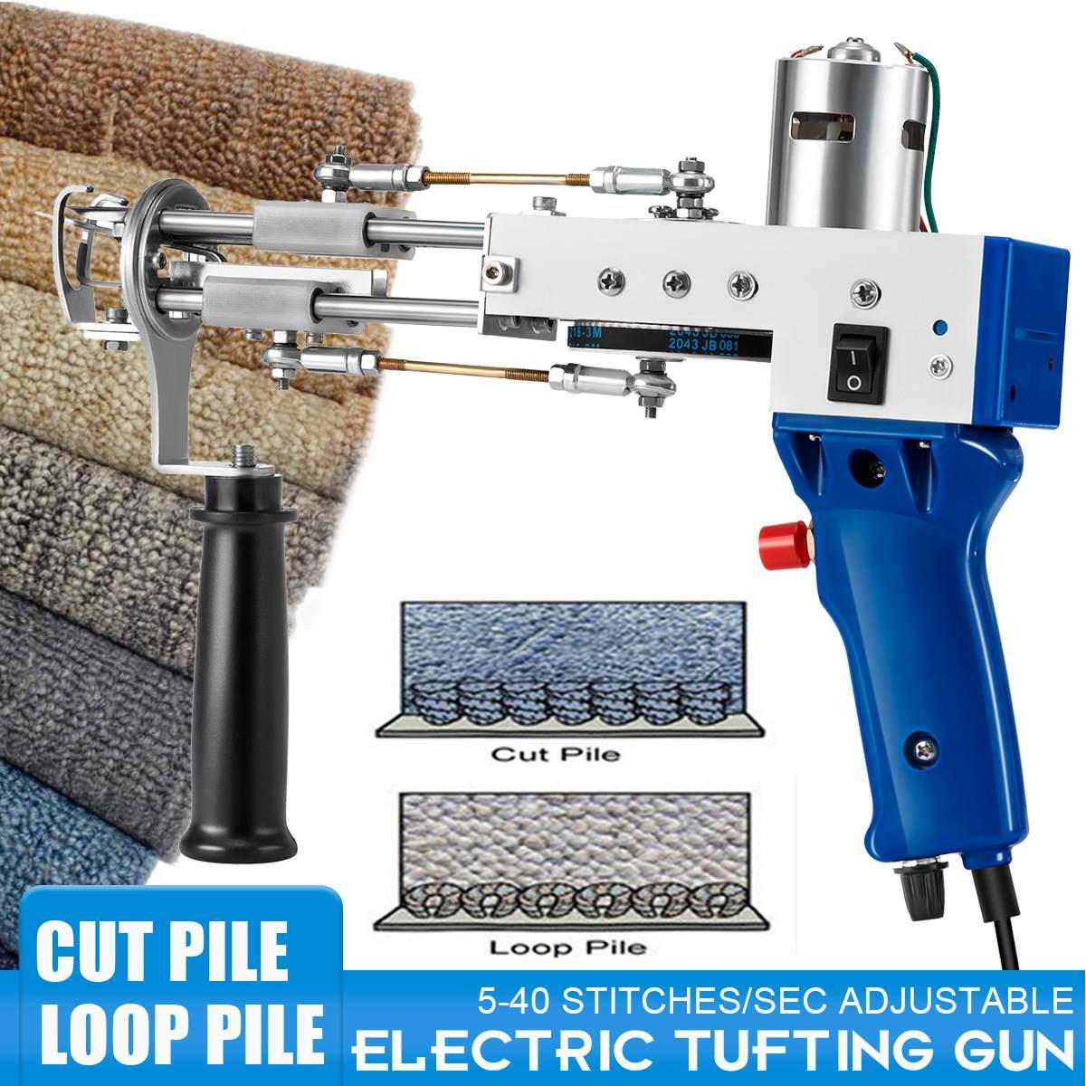 Electric Carpet Tufting Gun, Rug Weaving Flocking Machine, Industrial Embroidery, DIY Handmade Knitting Machine (Cut/loop Pile)