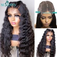 Perruque Lace Closure Wig Remy brésilienne-xcsunny   Perruque naturelle, Deep Wave, 4x4, pre-plucked, densité 200, pour femmes