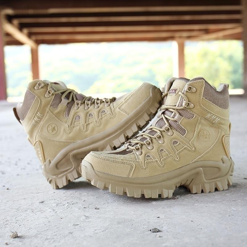 Zapatos de senderismo impermeables para exterior para hombre, botas de nieve de invierno, botas de combate militares, zapatos de escalada en roca, botas tácticas de caza