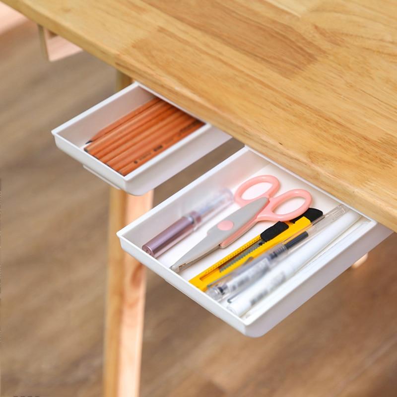 Dulang pensil tongkat diri di bawah laci meja, penyusun simpanan, - Organisasi dan penyimpanan di dalam rumah - Foto 2
