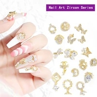 17 styles of nail art butterfly jewelry 3d rhinestone nail decoration cat eye bow nails accessories flower nail decorations