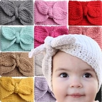 childrens super cute rabbit eared wool hair band baby ins european and american knitted ear protection baby fashion hair band