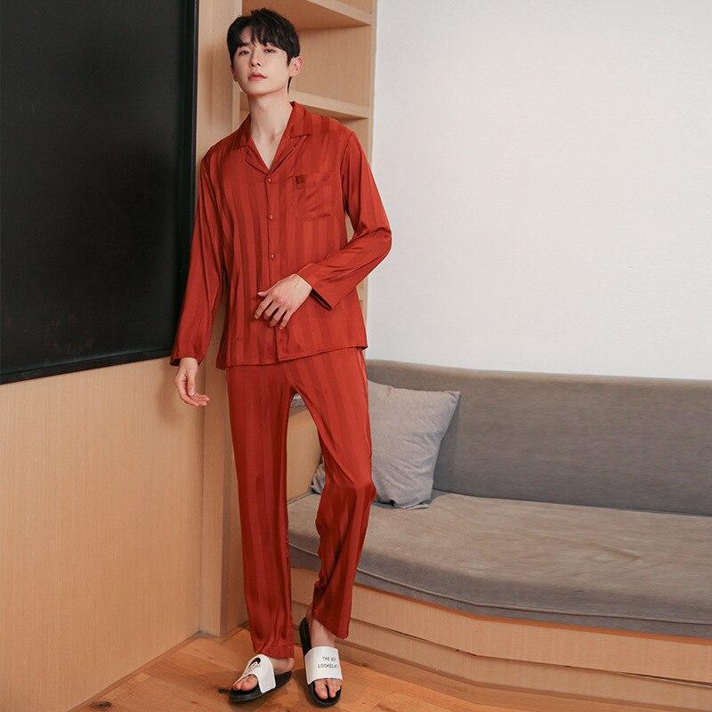 Wmyqdlq пижамы мужские% 27 пятно шелк пижама комплект мужские пижамы шелк одежда для сна сексуальный современный стиль мягкий уютный сатин ночная рубашка мужские весна пижама