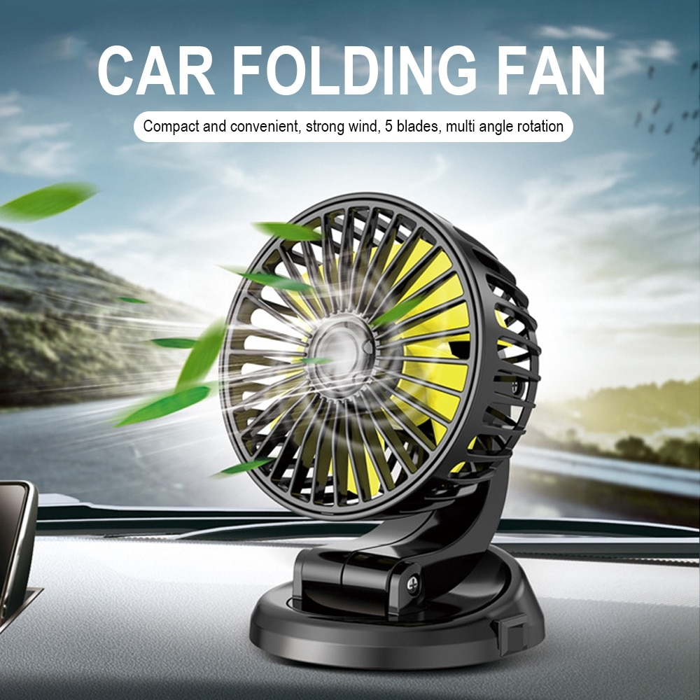 24/12/5V Foldable Car Fan All-Round Adjustable Automobile Mini Cooling Fan Universal Heat Dissipation For Car Truck Home Office