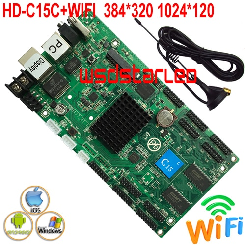 Reemplazar HD-C10C + WIFI + 10 * HUB75E apoyo 1/32 escáner USB RGB asincrónico color P2.5 P3 P6 pantalla LED tarjeta de control 384*320*1024*120