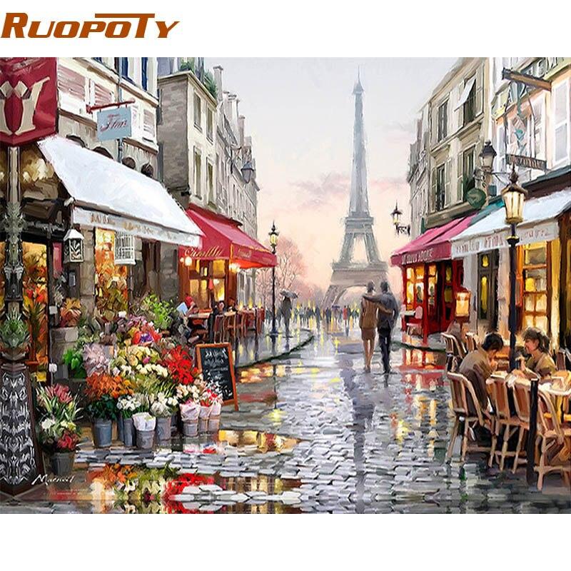 Cuadro RUOPOTY de calle de París DIY por números cuadro en lienzo pintado a mano cuadro de Arte de pared para el hogar para sala de estar regalo único 40X50