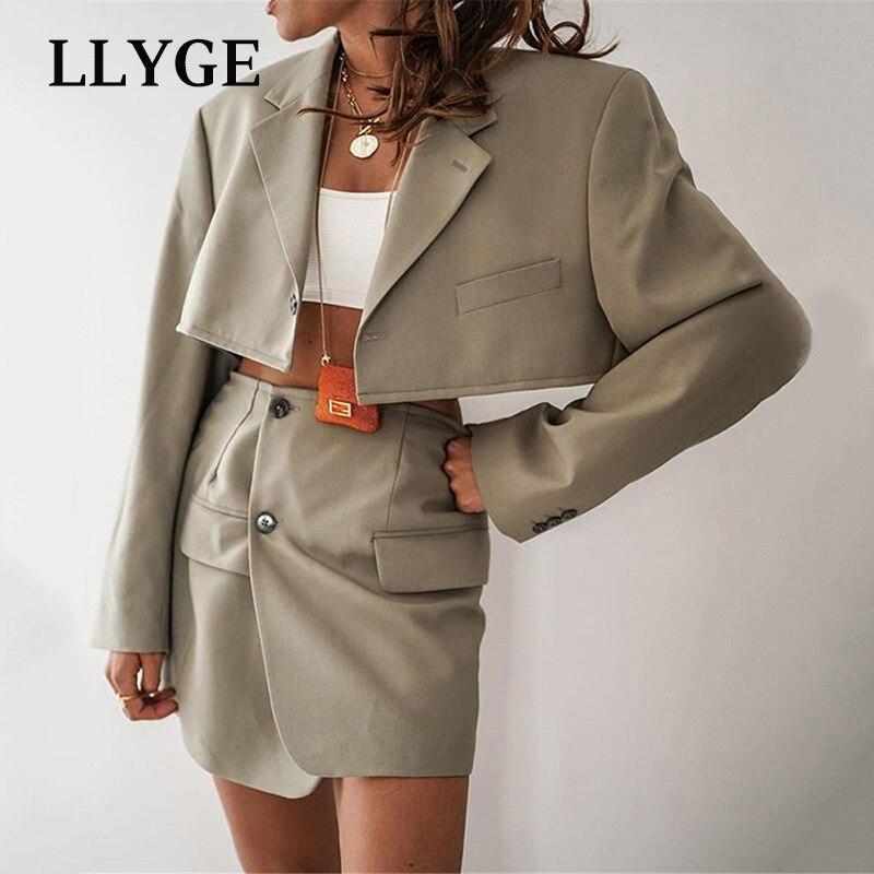 Spring Blazer And Skirt Suit Women Single Button Blazes Mini Skirts Female 2 piece Set Women 2021 Simple Fashion Lady Clothing