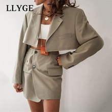 Spring Blazer And Skirt Suit Women Single Button Blazes Mini Skirts Female 2 piece Set Women 2021 Si