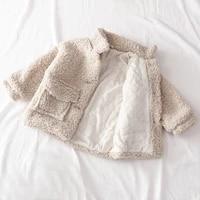 children wool outerwear winter thicken kids jacket for girls coat fashion 2021 autumn plush artificial fur outwear 6 to 8 years