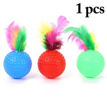 Cat Feather Ball Toy Plastic Cat Toy Interactive Funny Kitten Training Ball Toy Cat Golf Ball With B