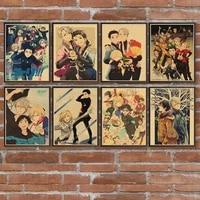 yuri on ice anime poster japanese cartoon comic retro poster home decoration painting room decoration painting